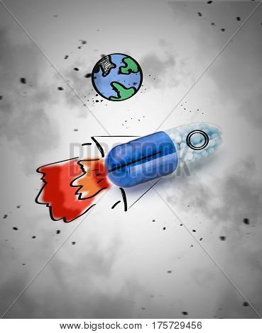 Blue capsules and pills background. Concept of Bullet and direct hit in the target and the destruction of the disease