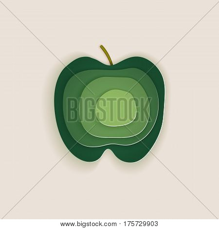 Conceptual green apple layered cut out colored paper.Paper art style. For use as logos on cards in printing posters invitations web design and other purposes.