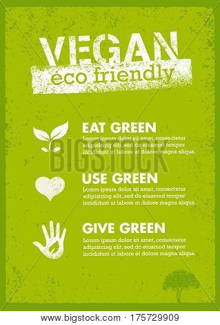 Organic Green Vegan Illustration. Creative Nature Friendly Eco Vector Concept on Recycled Paper Background.
