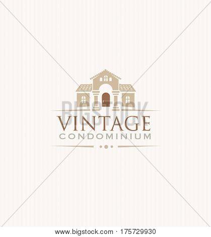 Vintage Upscale Condominium Creative Vector Emblem Concept.