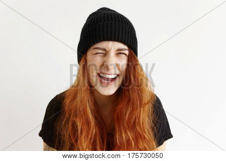 Human Facial Expressions, Emotions And Feelings. Portrait Of Funny Funky Teenage Girl With Messy Hai