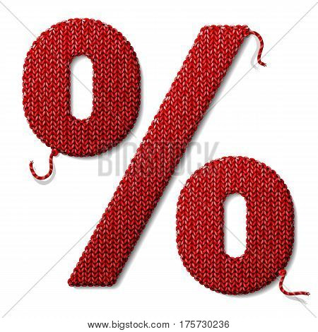 Percent symbol of knitted fabric isolated on white. Fragment of knitting in shape of percentage sign. Qualitative vector illustration for banking financial industry sale discount calculation etc