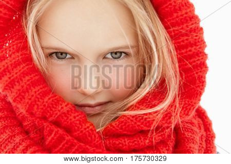 Close Up Highly-detailed Portrait Of Beautiful Little Girl With Fair Hair And Healthy Clean Skin Wea