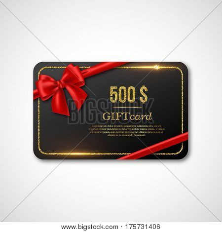 Gift card design with realistic red bow and golden glitter frame. 500 $ voucher certificate for shopping. Vector illustration.