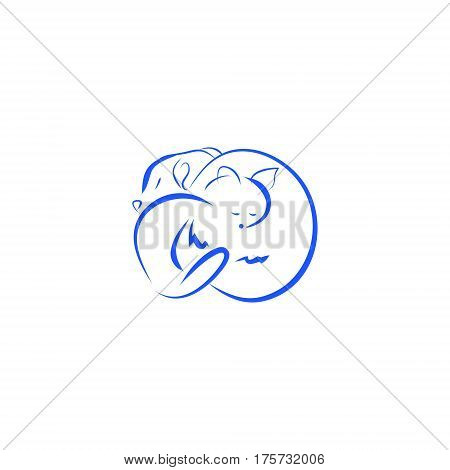 Cat and dog asleep. Veterinary logo with blue lines on white background vector illustration