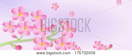Banner With A Branch Of Cherry Blossoms With Paper Cut. Paper Art Style. Flowers On A Purple Backgro
