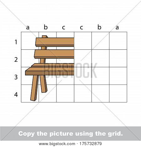 Finish the simmetry picture using grid sells, vector kid educational game for preschool kids, the drawing tutorial with easy game level for half of Bench