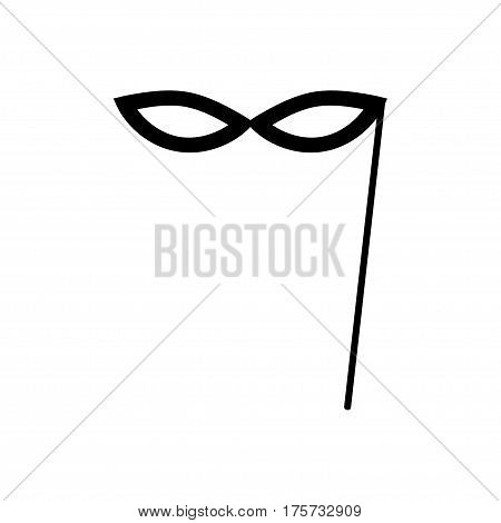 Carnival mask icon. Festive mask silhouette in black on a white background