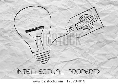 Idea Lightbulb With Patented Tag