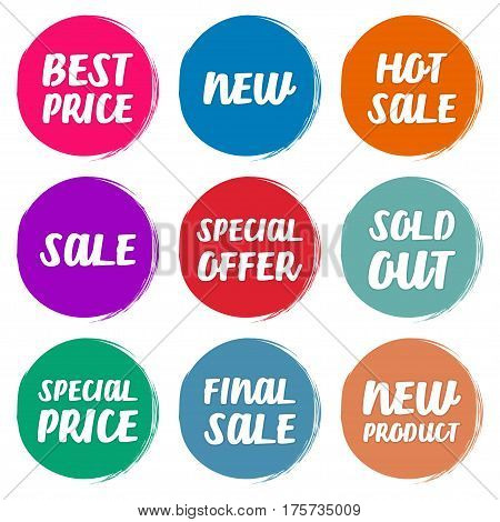 Collection symbols such as Special offer Hot sale Best price New Sold out Special price Final sale New Product