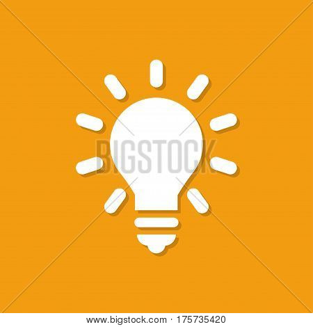 Lightbulb icon with shadow in a flat design on a orange background