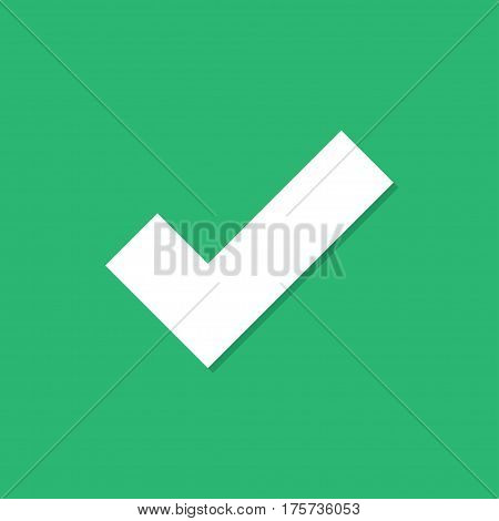 Checkmark icon with shadow in a flat design on a green background