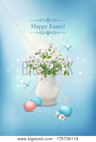 Happy Easter Card. Vector spring flowers in ceramic jug and eggs