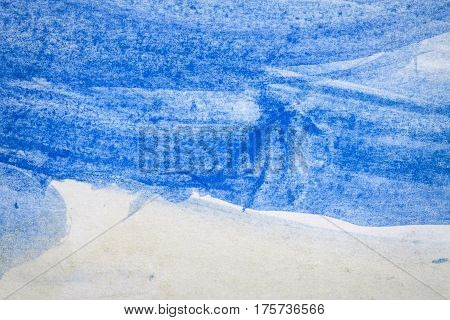 Macro shot of abstract hand drawn blue and gray watercolor paints background