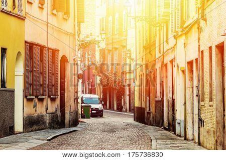 Beautiful old street in Parma, Emilia-Romagna, Italy.