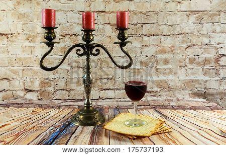 Wine And Matzoh Jewish Passover Candles Jewish Bread