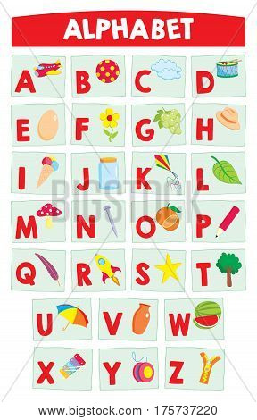 Cartoon alphabet for kids - education poster. Learn alphabet letters