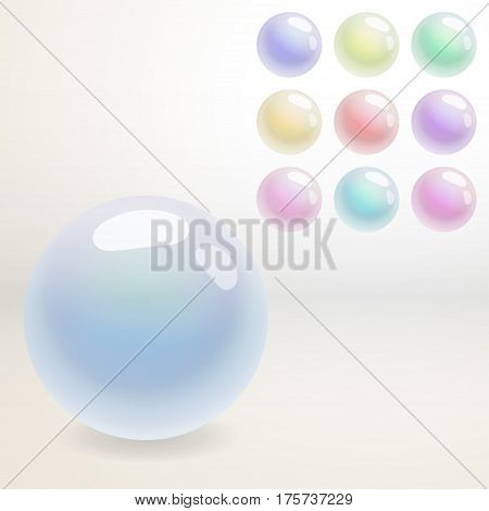 Rainbow colored sphere with a glare. Different colors. Isolated objects for your design.