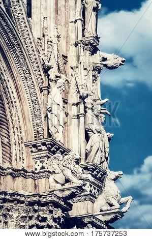 Sculptures of medieval Siena cathedral Siena Italy.