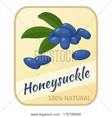 Vintage label with honeysuckle isolated on white background in simple cartoon style. Vector illustration. Berries Collection.