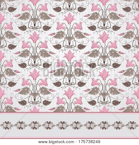 Seamless Vector Background And Border. Vintage Floral Pattern In Modern Style On  Background With St
