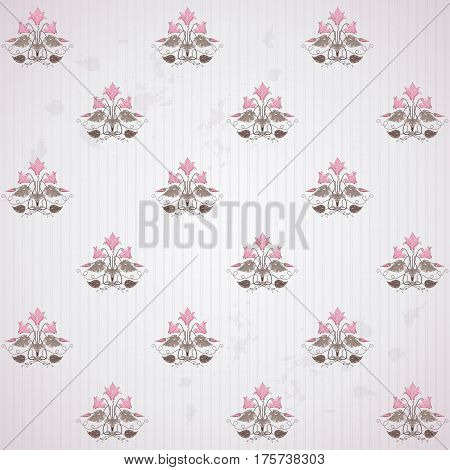 Seamless Vector Background. Vintage Floral Pattern In Modern Style On  Background With Stripes And B