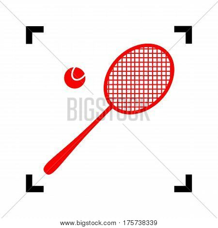 Tennis racquet sign. Vector. Red icon inside black focus corners on white background. Isolated.