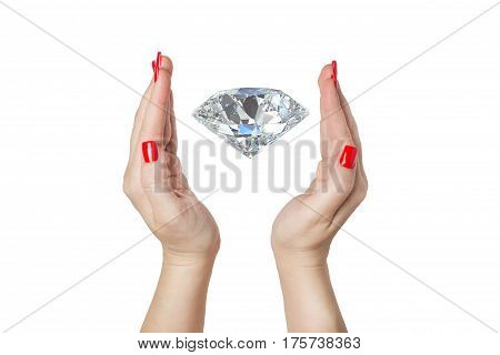 Open woman hands with a red manicure with diamond on a white background isolated