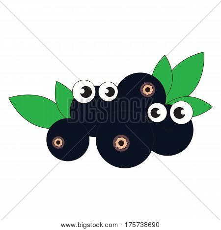 Funny bilberry cartoon. Outlined object with black stroke.