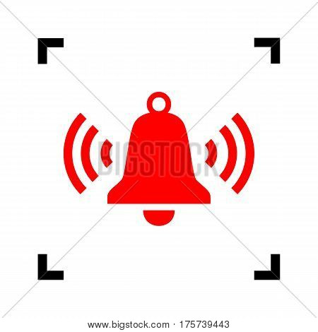 Ringing bell icon. Vector. Red icon inside black focus corners on white background. Isolated.