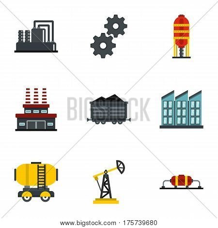 Petroleum industry technology icons set. Flat illustration of 9 petroleum industry technology vector icons for web