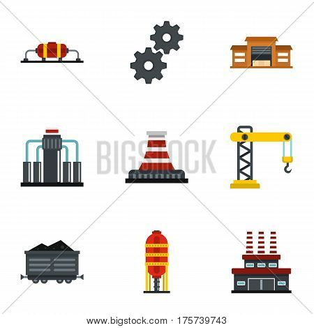 Extraction and refinery facilities icons set. Flat illustration of 9 extraction and refinery facilities vector icons for web