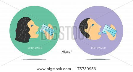 Signs with a man drinking water and a woman drinking also clear cold water from glass