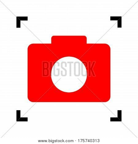 Digital camera sign. Vector. Red icon inside black focus corners on white background. Isolated.