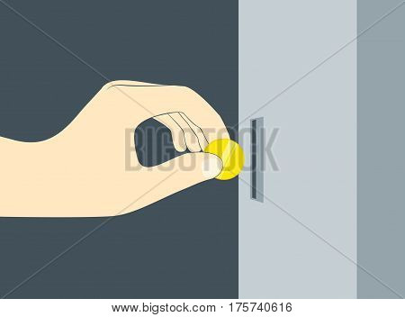 Hand insert coin or chip in vending machine slot
