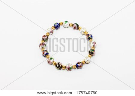 hand crafted multi colored beads with gold spacers