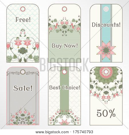 Set of six tags. Vintage pattern in modern style with aquilegia plants. Place for your text.