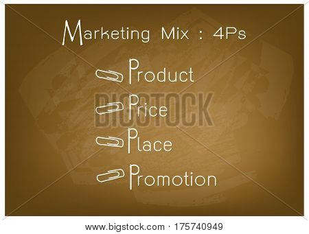 Business Concepts Illustration of 4Ps Model or Marketing Mix Diagram for Management Strategy on Brown Chalkboard. A Foundation Concept in Marketing.
