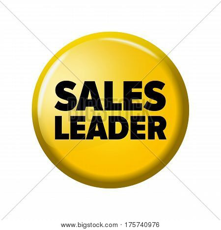 Bright Yellow Round Button With Word 'sales Leader'