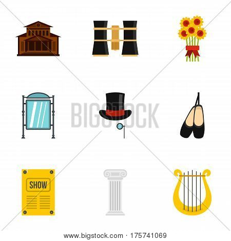 Theatre art and acting icons set. Flat illustration of 9 theatre art and acting vector icons for web
