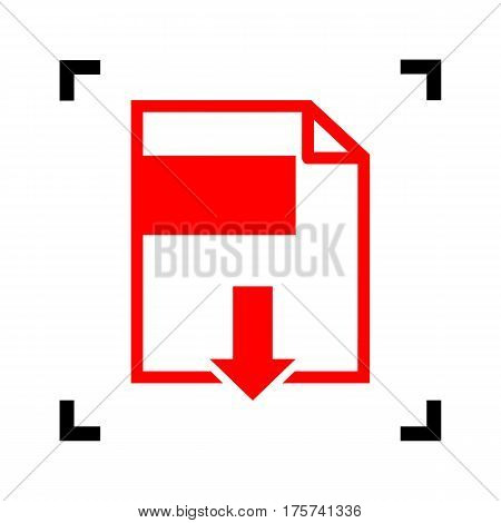 File download sign. Vector. Red icon inside black focus corners on white background. Isolated.