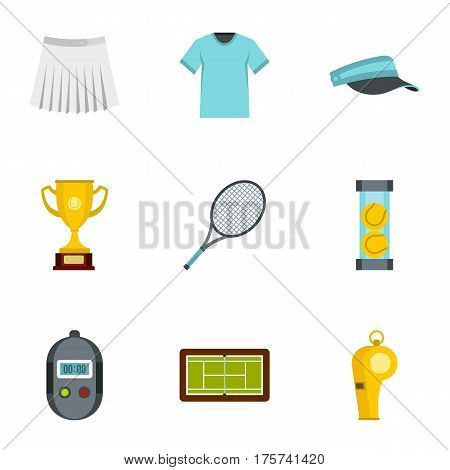 Big tennis icons set. Flat illustration of 9 big tennis vector icons for web