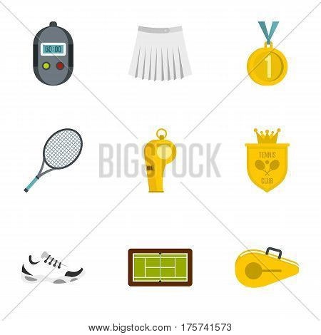 Equipment for tennis sport icons set. Flat illustration of 9 equipment for tennis sport vector icons for web