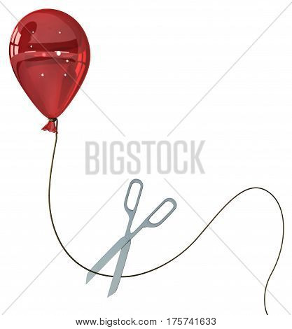 Red party balloon tethered cut 3d illustration horizontal over white