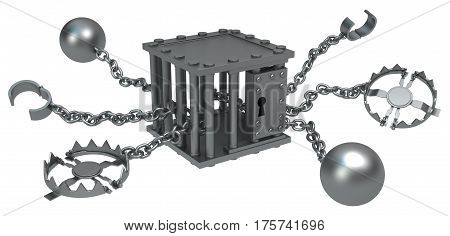 Traps chain with cage center dark metal 3d illustration isolated horizontal over white