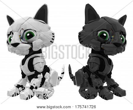 Robotic kitten pair black and white color 3d illustration horizontal isolated