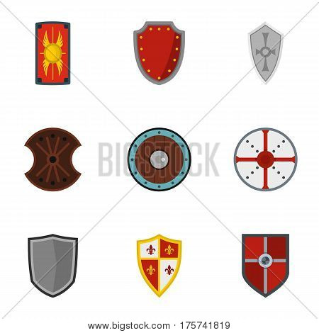 Heraldic shield icons set. Flat illustration of 9 heraldic shield vector icons for web