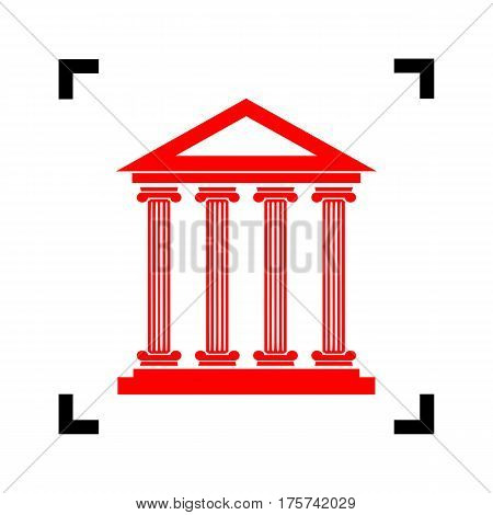 Historical building illustration. Vector. Red icon inside black focus corners on white background. Isolated.