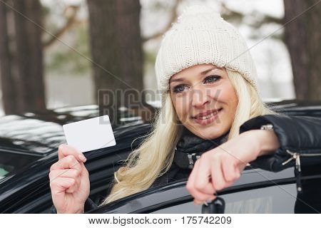 Young Attractive Woman With Car Keys In The Hand