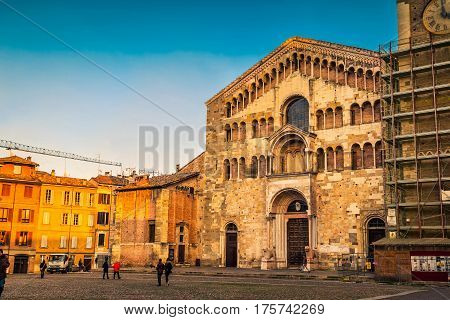Famous Duomo square in Parma Emilia-Romagna Italy.
